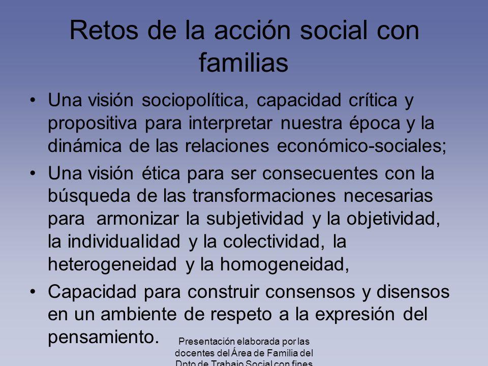 Retos de la acción social con familias Una visión sociopolítica, capacidad crítica y propositiva para interpretar nuestra época y la dinámica de las r