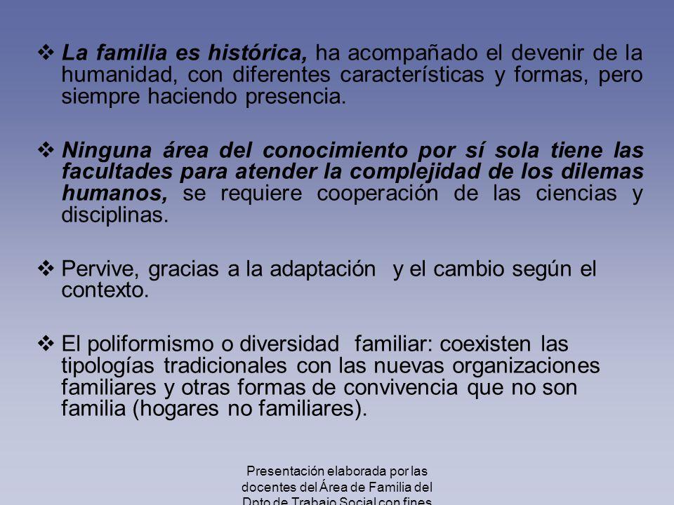 La familia es histórica, ha acompañado el devenir de la humanidad, con diferentes características y formas, pero siempre haciendo presencia. Ninguna á