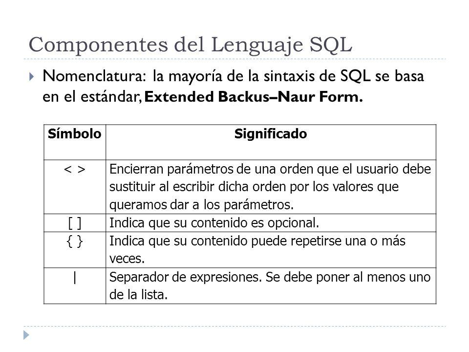 Componentes del Lenguaje SQL Nomenclatura: la mayoría de la sintaxis de SQL se basa en el estándar, Extended Backus–Naur Form.