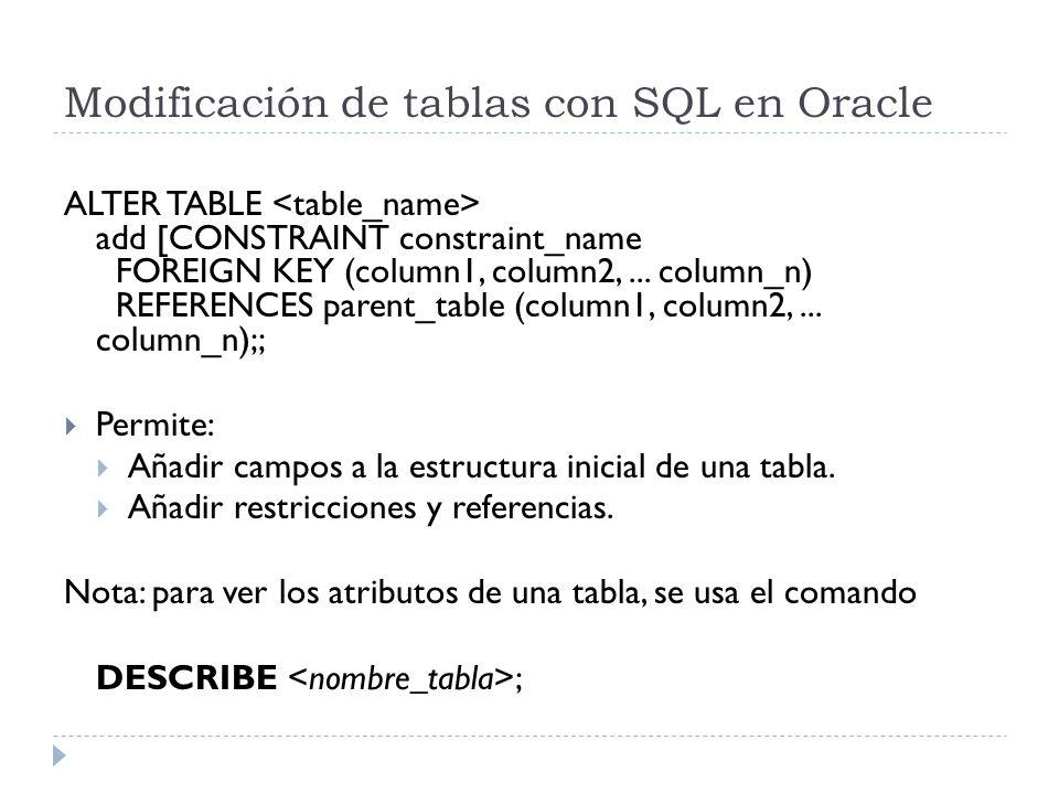 Modificación de tablas con SQL en Oracle ALTER TABLE add [CONSTRAINT constraint_name FOREIGN KEY (column1, column2,...