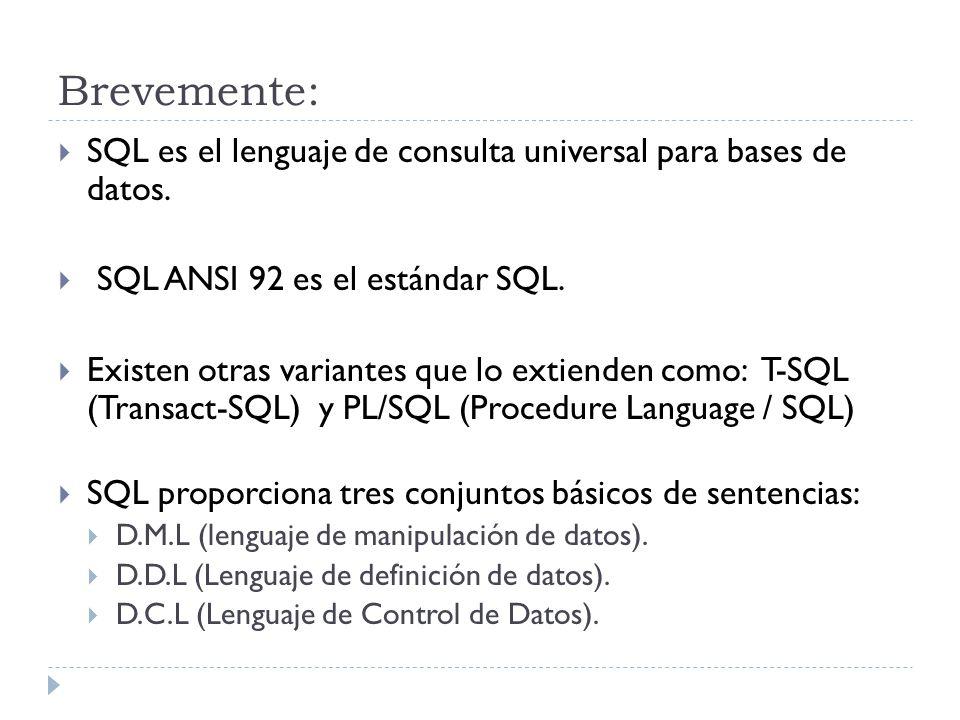 Brevemente: SQL es el lenguaje de consulta universal para bases de datos.