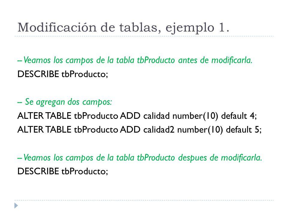 Modificación de tablas, ejemplo 1.