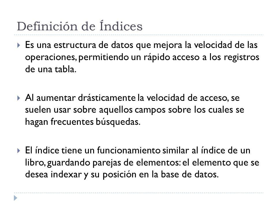 Definición de Índices Es una estructura de datos que mejora la velocidad de las operaciones, permitiendo un rápido acceso a los registros de una tabla.