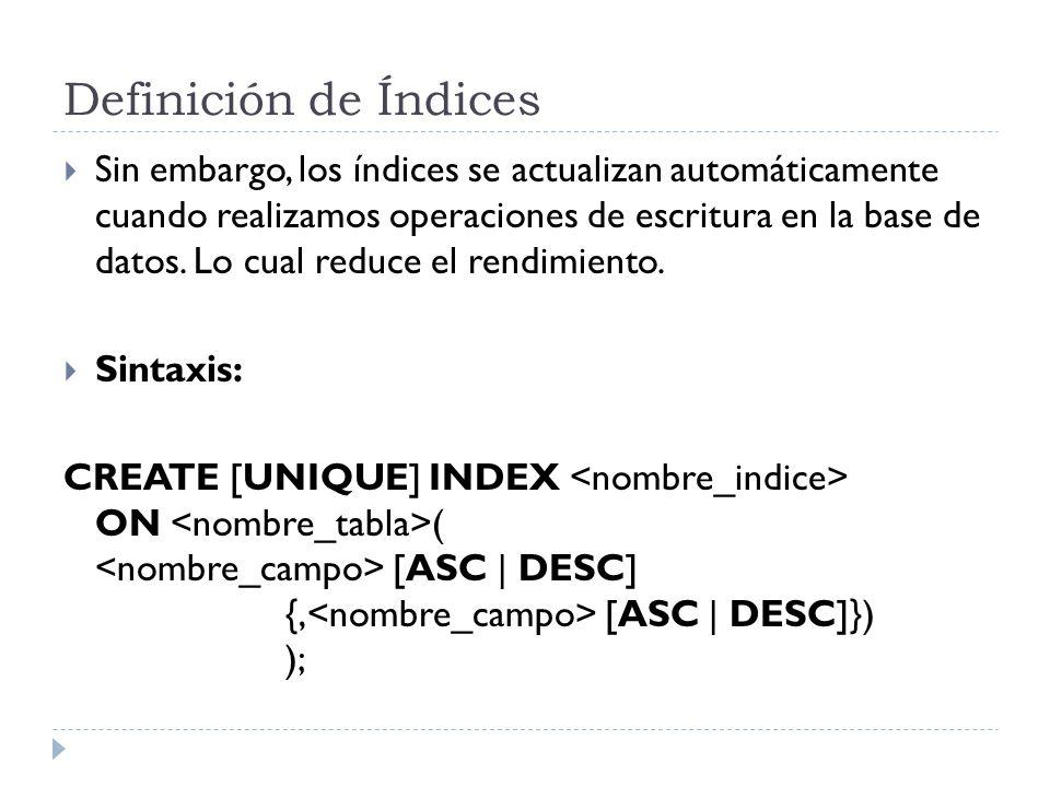 Definición de Índices Sin embargo, los índices se actualizan automáticamente cuando realizamos operaciones de escritura en la base de datos.