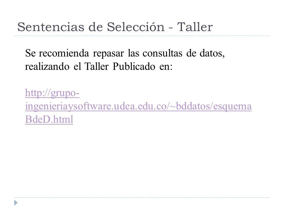 Sentencias de Selección - Taller Se recomienda repasar las consultas de datos, realizando el Taller Publicado en: http://grupo- ingenieriaysoftware.udea.edu.co/~bddatos/esquema BdeD.html