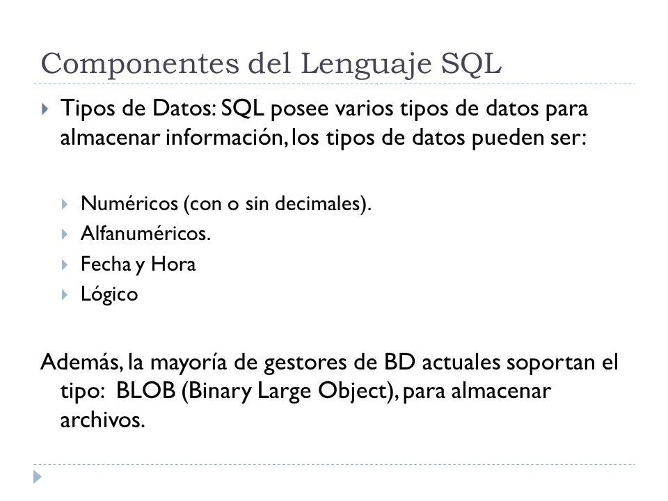 Componentes del Lenguaje SQL Tipos de Datos: SQL posee varios tipos de datos para almacenar información, los tipos de datos pueden ser: Numéricos (con o sin decimales).