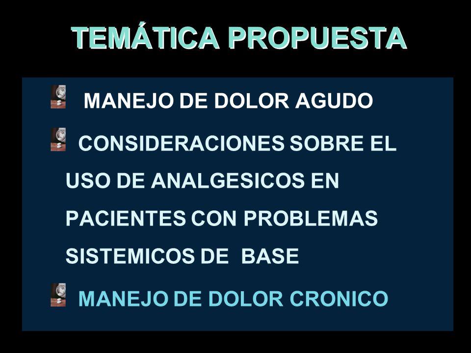 TEMÁTICA PROPUESTA MANEJO DE DOLOR AGUDO CONSIDERACIONES SOBRE EL USO DE ANALGESICOS EN PACIENTES CON PROBLEMAS SISTEMICOS DE BASE MANEJO DE DOLOR CRO