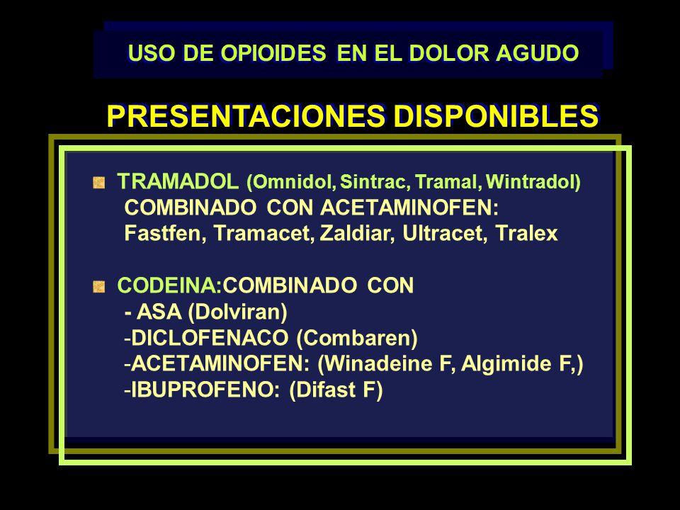 TRAMADOL (Omnidol, Sintrac, Tramal, Wintradol) COMBINADO CON ACETAMINOFEN: Fastfen, Tramacet, Zaldiar, Ultracet, Tralex CODEINA:COMBINADO CON - ASA (D