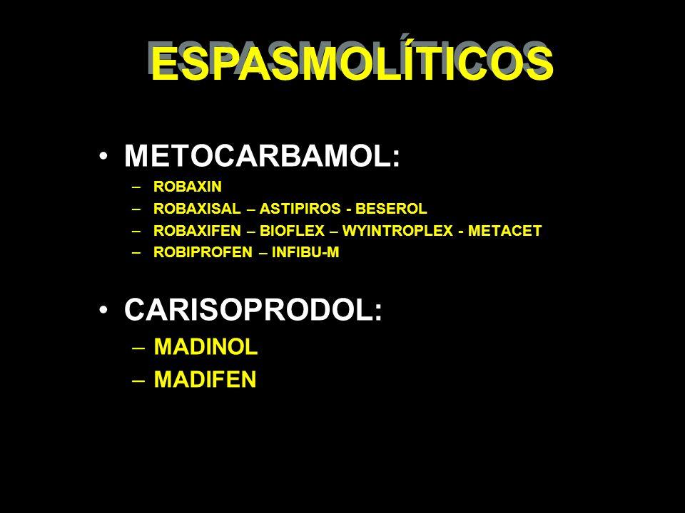 METOCARBAMOL: –ROBAXIN –ROBAXISAL – ASTIPIROS - BESEROL –ROBAXIFEN – BIOFLEX – WYINTROPLEX - METACET –ROBIPROFEN – INFIBU-M CARISOPRODOL: –MADINOL –MA