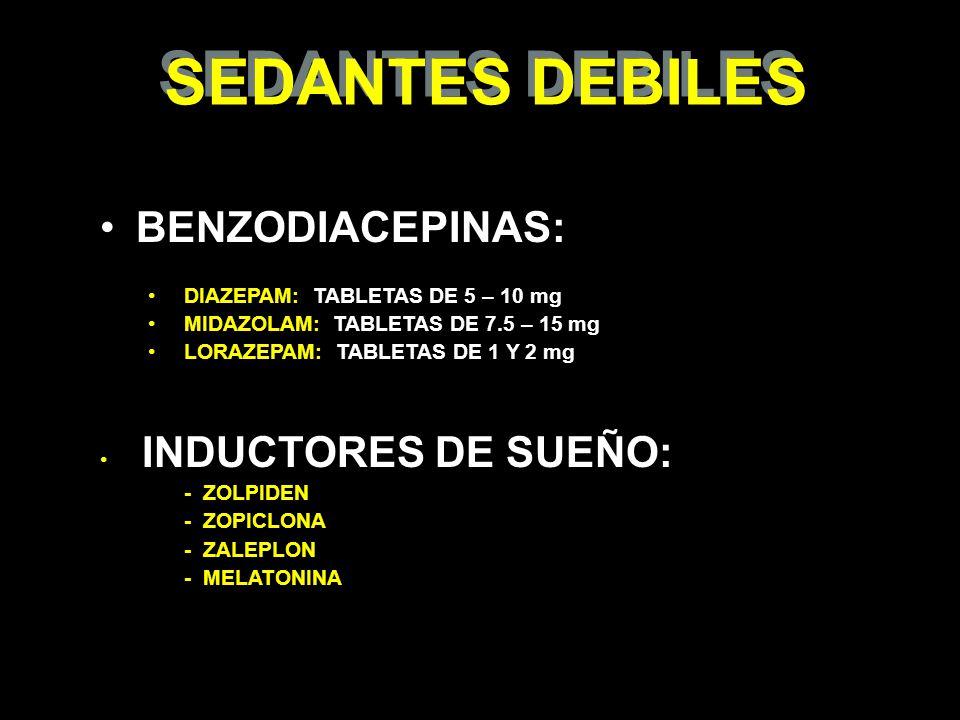 SEDANTES DEBILES BENZODIACEPINAS: DIAZEPAM: TABLETAS DE 5 – 10 mg MIDAZOLAM: TABLETAS DE 7.5 – 15 mg LORAZEPAM: TABLETAS DE 1 Y 2 mg INDUCTORES DE SUE