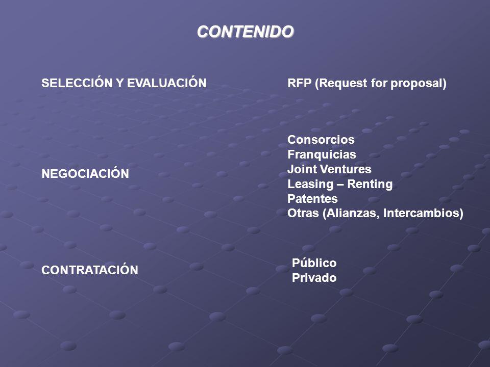 CONTENIDO SELECCIÓN Y EVALUACIÓN NEGOCIACIÓN CONTRATACIÓN RFP (Request for proposal) Consorcios Franquicias Joint Ventures Leasing – Renting Patentes Otras (Alianzas, Intercambios) Público Privado