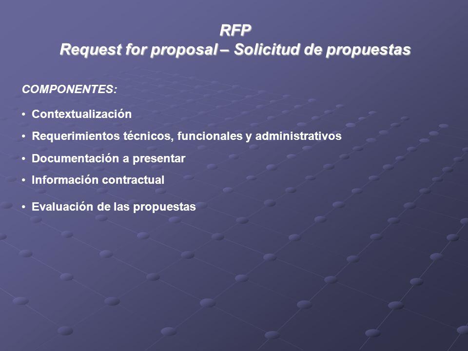 RFP Request for proposal – Solicitud de propuestas COMPONENTES: Requerimientos técnicos, funcionales y administrativos Documentación a presentar Información contractual Contextualización Evaluación de las propuestas