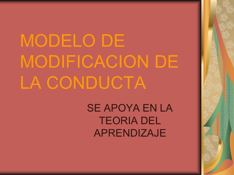 MODELO DE MODIFICACION DE LA CONDUCTA SE APOYA EN LA TEORIA DEL APRENDIZAJE