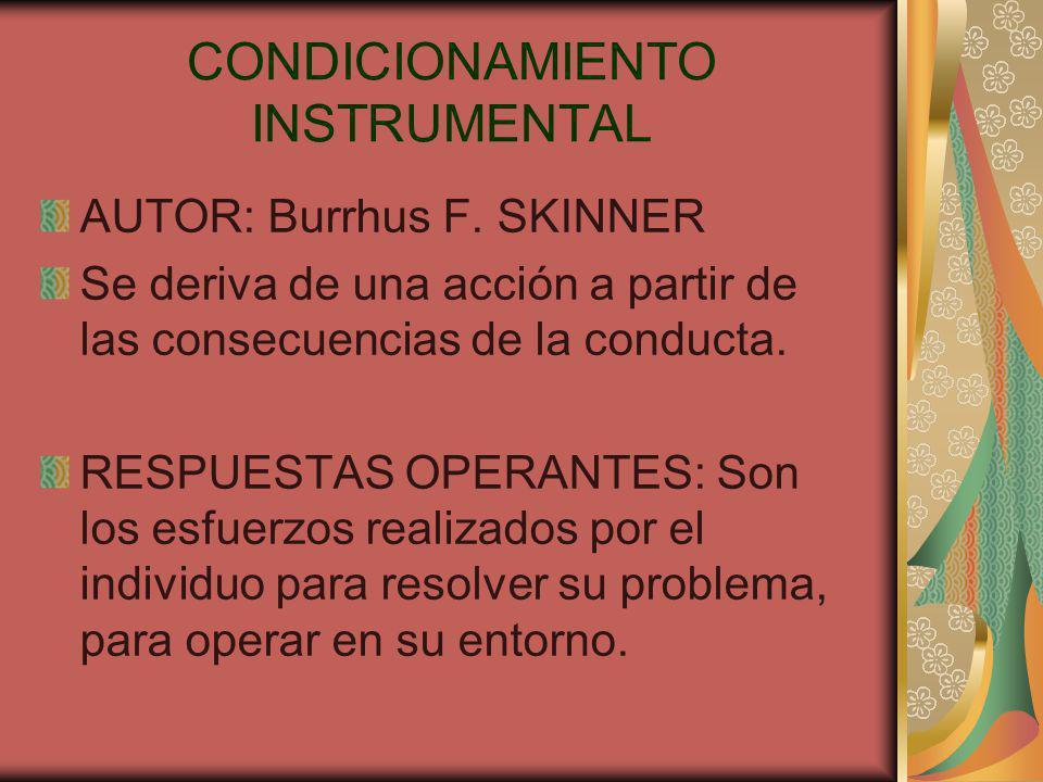 CONDICIONAMIENTO INSTRUMENTAL AUTOR: Burrhus F.