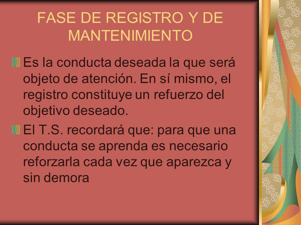 FASE DE REGISTRO Y DE MANTENIMIENTO Es la conducta deseada la que será objeto de atención.