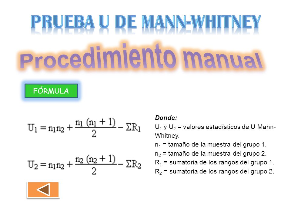 FÓRMULA Donde: U 1 y U 2 = valores estadísticos de U Mann- Whitney. n 1 = tamaño de la muestra del grupo 1. n 2 = tamaño de la muestra del grupo 2. R