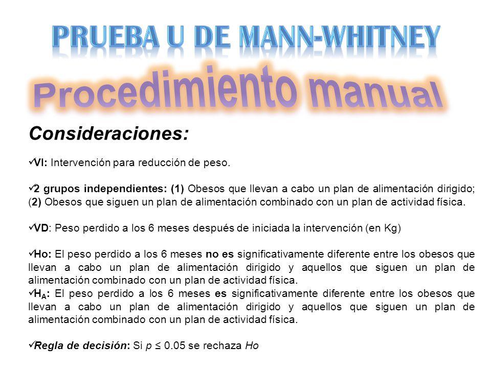Consideraciones: VI: Intervención para reducción de peso. 2 grupos independientes: (1) Obesos que llevan a cabo un plan de alimentación dirigido; (2)