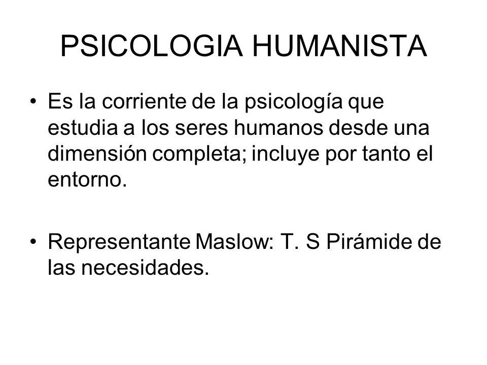 PSICOLOGIA HUMANISTA Es la corriente de la psicología que estudia a los seres humanos desde una dimensión completa; incluye por tanto el entorno. Repr