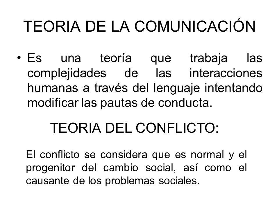 TEORIA DE LA COMUNICACIÓN Es una teoría que trabaja las complejidades de las interacciones humanas a través del lenguaje intentando modificar las paut