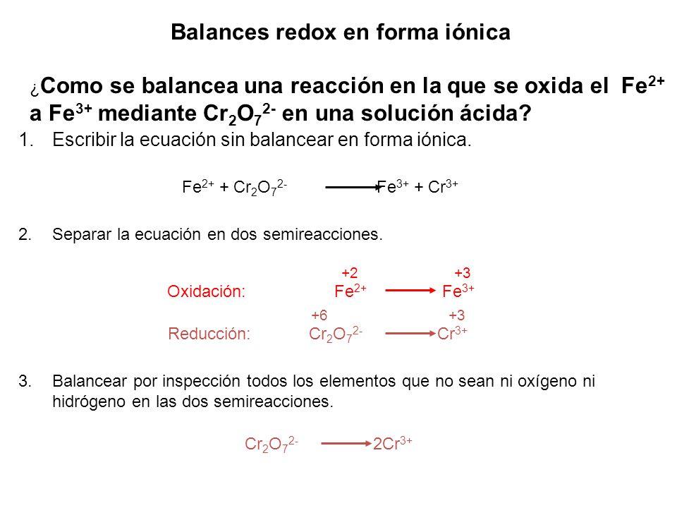 Balances redox en forma iónica 1.Escribir la ecuación sin balancear en forma iónica. ¿ Como se balancea una reacción en la que se oxida el Fe 2+ a Fe
