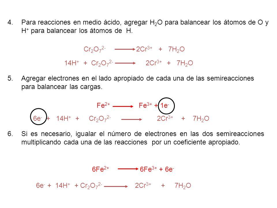 4.Para reacciones en medio ácido, agregar H 2 O para balancear los átomos de O y H + para balancear los átomos de H. Cr 2 O 7 2- 2Cr 3+ + 7H 2 O 14H +