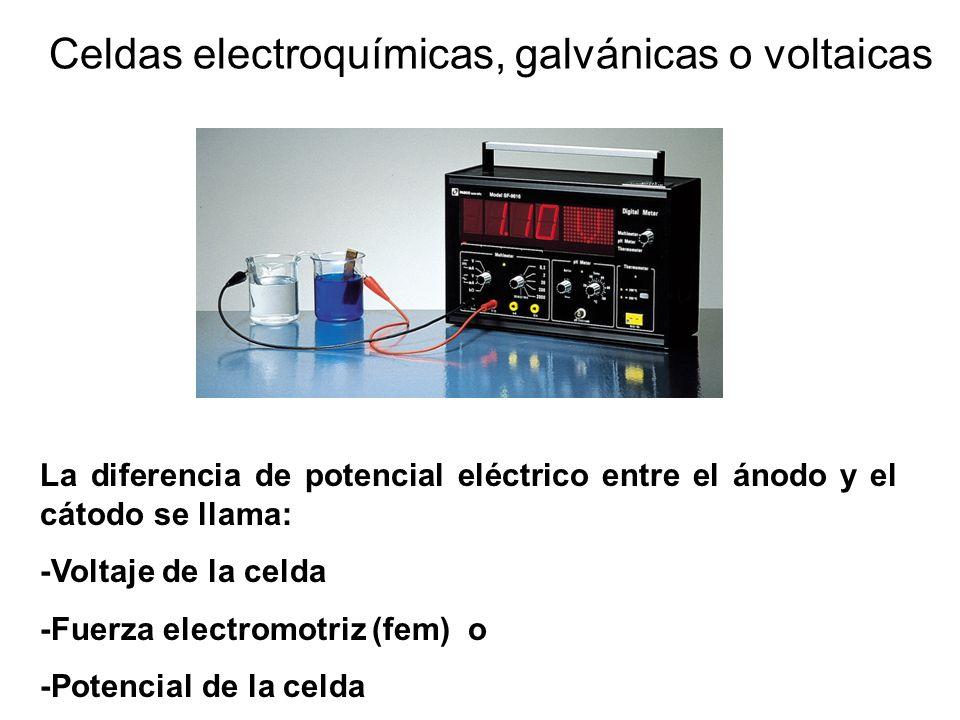 Celdas electroquímicas, galvánicas o voltaicas La diferencia de potencial eléctrico entre el ánodo y el cátodo se llama: -Voltaje de la celda -Fuerza