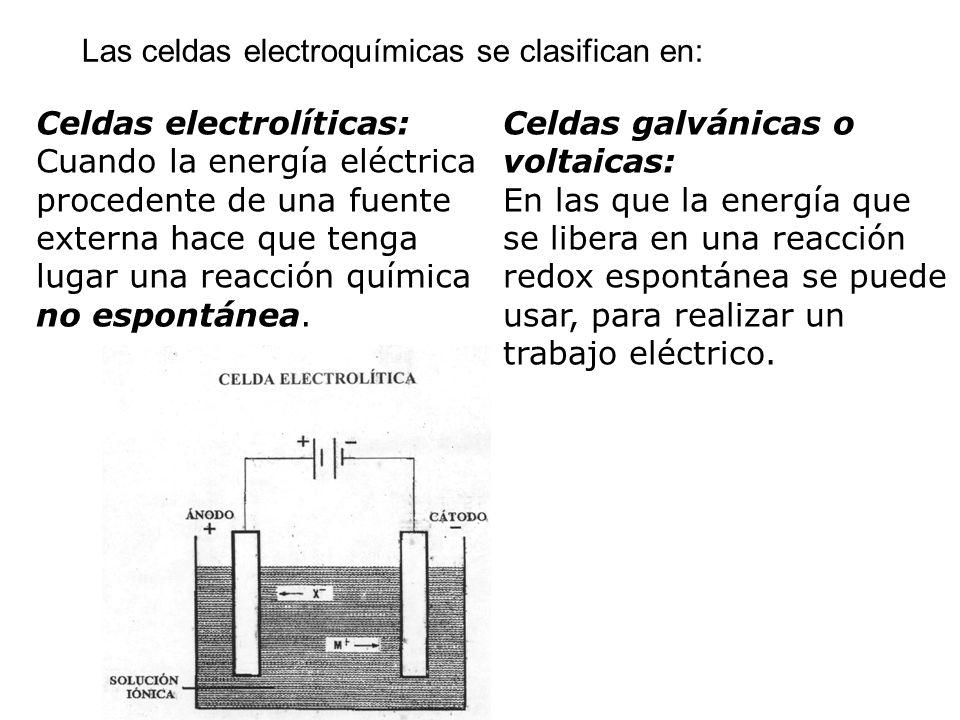 Las celdas electroquímicas se clasifican en: Celdas electrolíticas: Cuando la energía eléctrica procedente de una fuente externa hace que tenga lugar