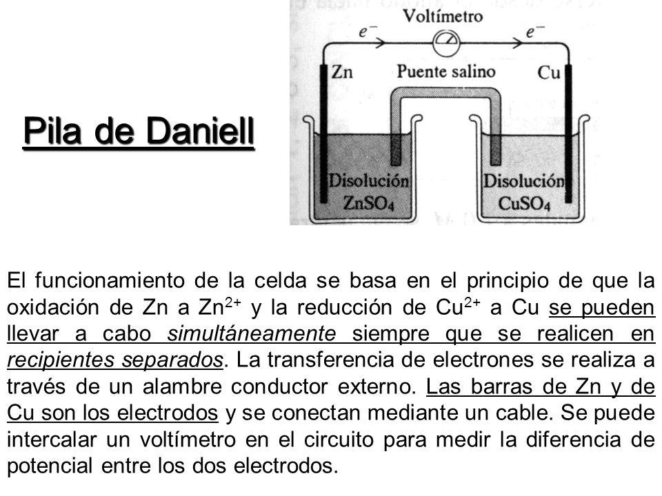 Pila de Daniell El funcionamiento de la celda se basa en el principio de que la oxidación de Zn a Zn 2+ y la reducción de Cu 2+ a Cu se pueden llevar