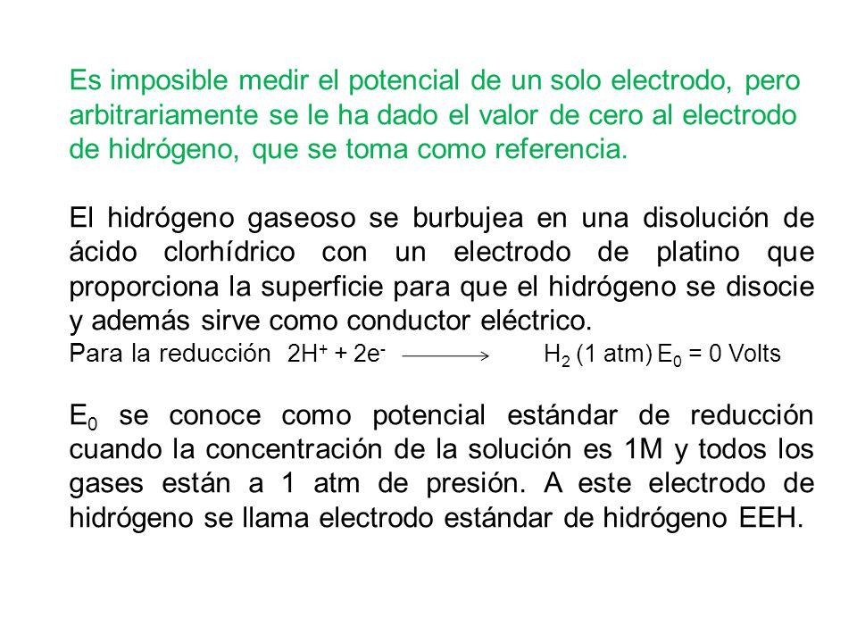 Es imposible medir el potencial de un solo electrodo, pero arbitrariamente se le ha dado el valor de cero al electrodo de hidrógeno, que se toma como