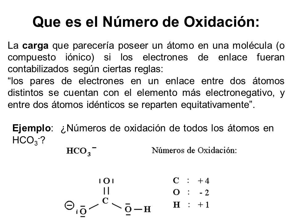 Que es el Número de Oxidación: La carga que parecería poseer un átomo en una molécula (o compuesto iónico) si los electrones de enlace fueran contabil