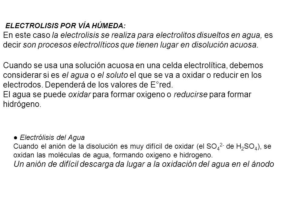 ELECTROLISIS POR VÍA HÚMEDA: En este caso la electrolisis se realiza para electrolitos disueltos en agua, es decir son procesos electrolíticos que tie