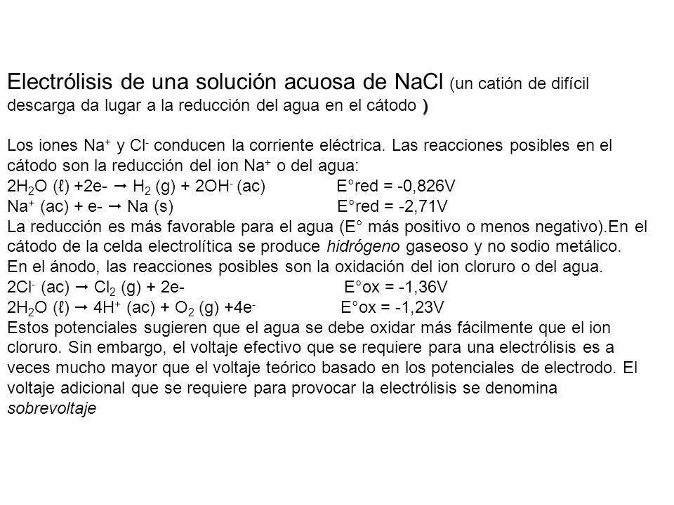 ) Electrólisis de una solución acuosa de NaCl (un catión de difícil descarga da lugar a la reducción del agua en el cátodo ) Los iones Na + y Cl - con
