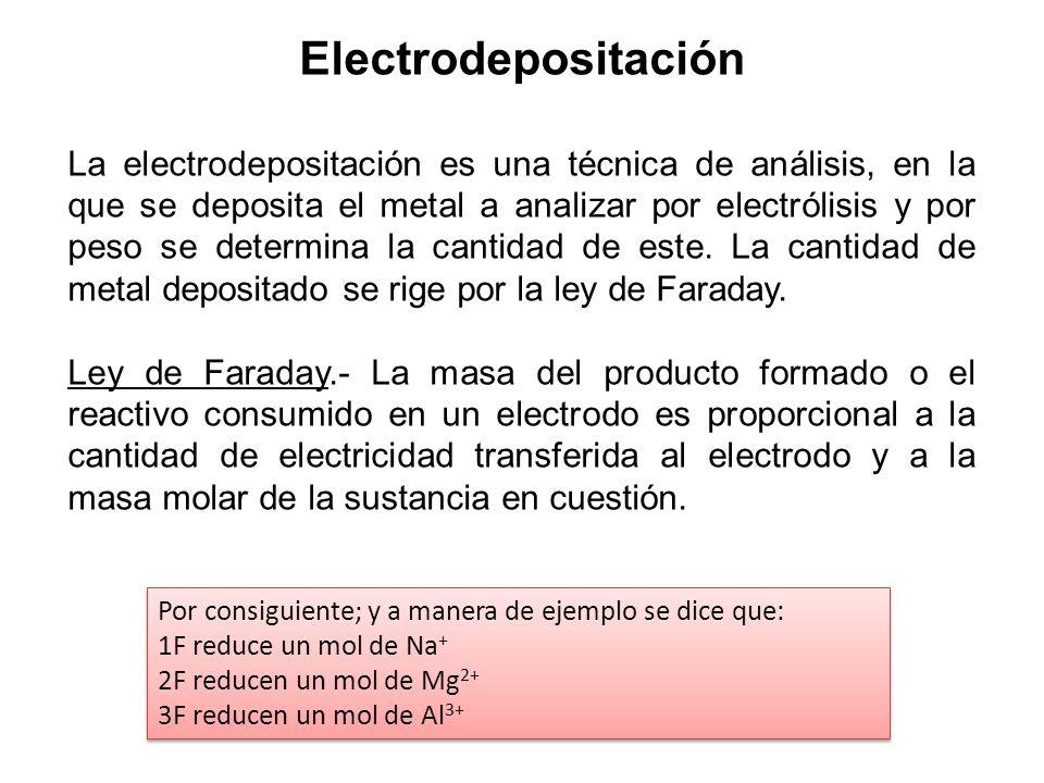 Electrodepositación La electrodepositación es una técnica de análisis, en la que se deposita el metal a analizar por electrólisis y por peso se determ