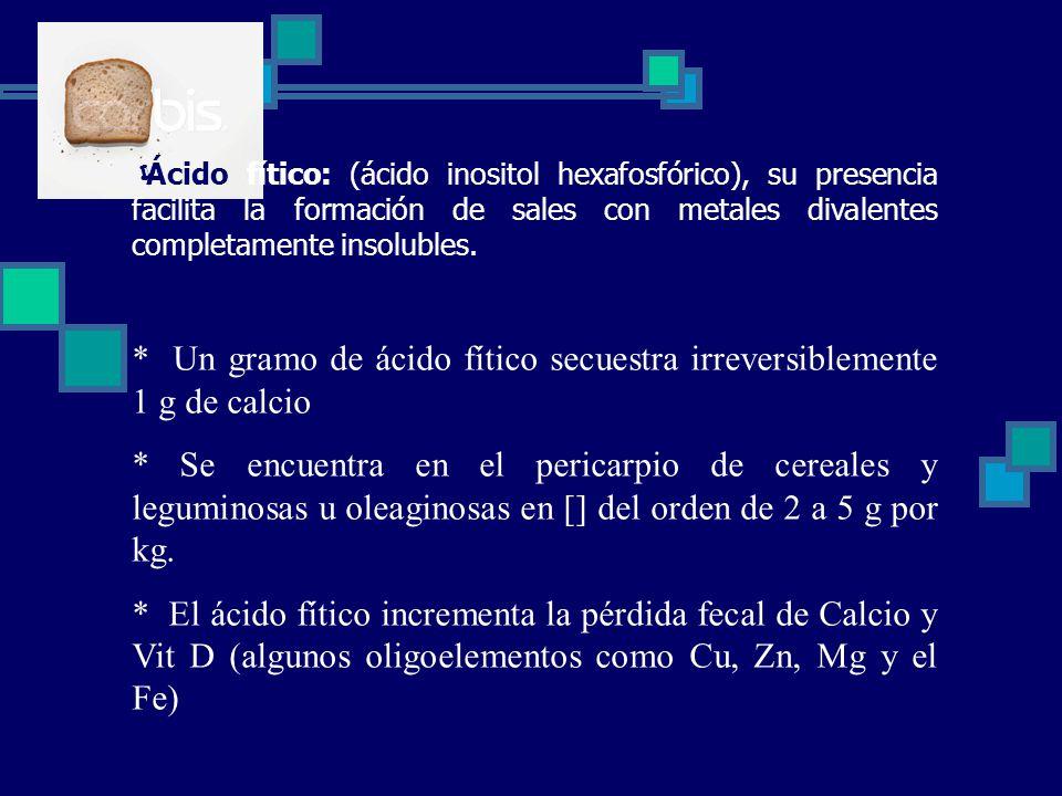 Ácido fítico: (ácido inositol hexafosfórico), su presencia facilita la formación de sales con metales divalentes completamente insolubles.