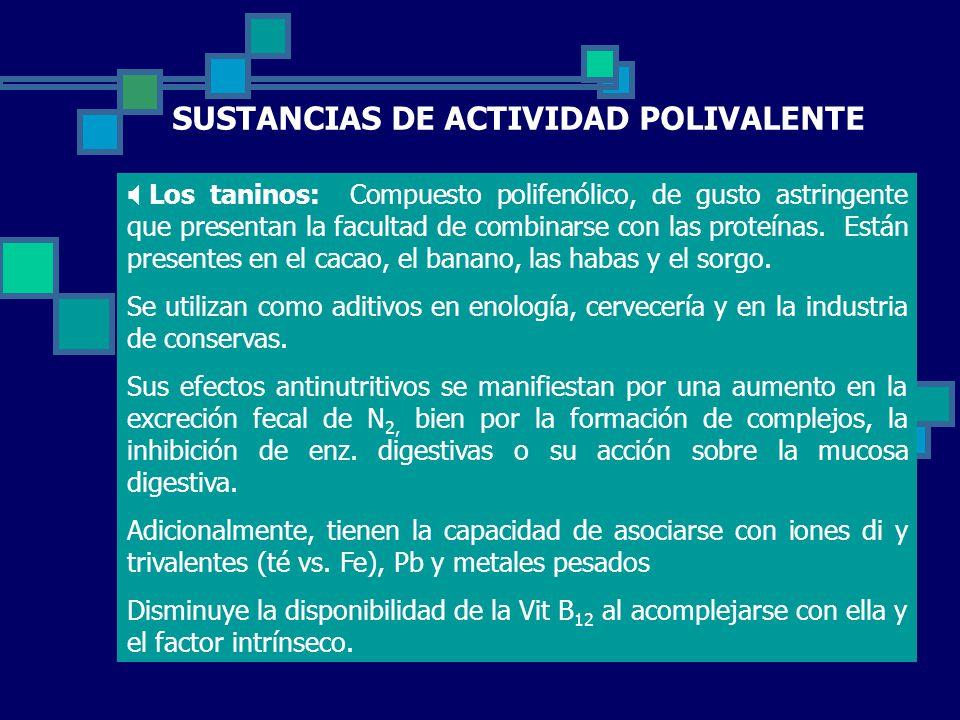 SUSTANCIAS DE ACTIVIDAD POLIVALENTE Los taninos: Compuesto polifenólico, de gusto astringente que presentan la facultad de combinarse con las proteínas.