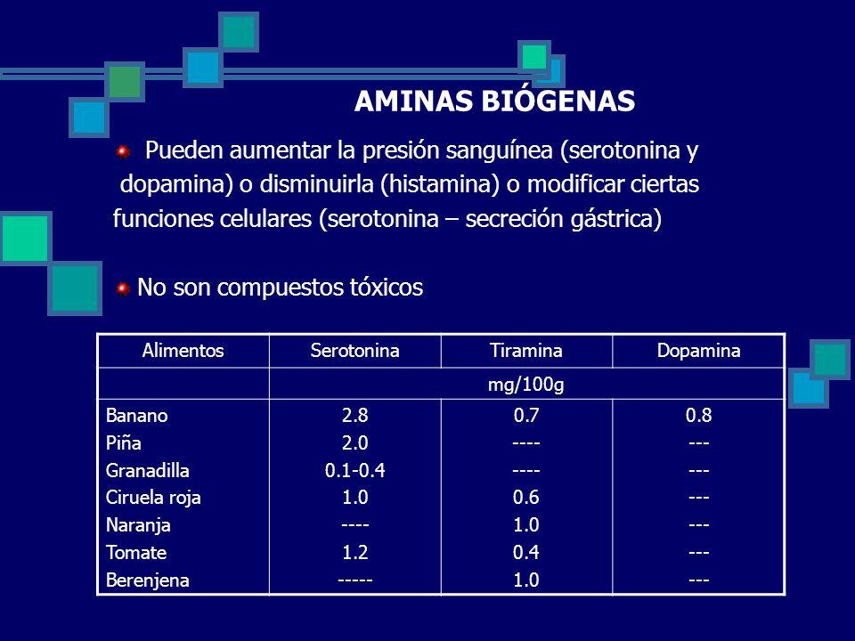 AMINAS BIÓGENAS Pueden aumentar la presión sanguínea (serotonina y dopamina) o disminuirla (histamina) o modificar ciertas funciones celulares (serotonina – secreción gástrica) No son compuestos tóxicos AlimentosSerotoninaTiraminaDopamina mg/100g Banano Piña Granadilla Ciruela roja Naranja Tomate Berenjena 2.8 2.0 0.1-0.4 1.0 ---- 1.2 ----- 0.7 ---- 0.6 1.0 0.4 1.0 0.8 ---