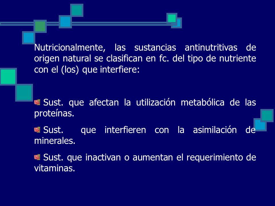 Nutricionalmente, las sustancias antinutritivas de origen natural se clasifican en fc.
