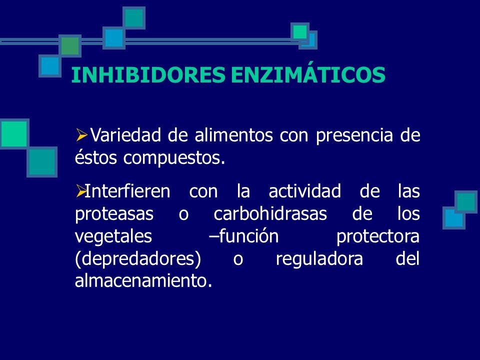 INHIBIDORES ENZIMÁTICOS Variedad de alimentos con presencia de éstos compuestos.