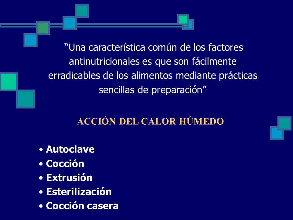 Una característica común de los factores antinutricionales es que son fácilmente erradicables de los alimentos mediante prácticas sencillas de preparación ACCIÓN DEL CALOR HÚMEDO Autoclave Cocción Extrusión Esterilización Cocción casera