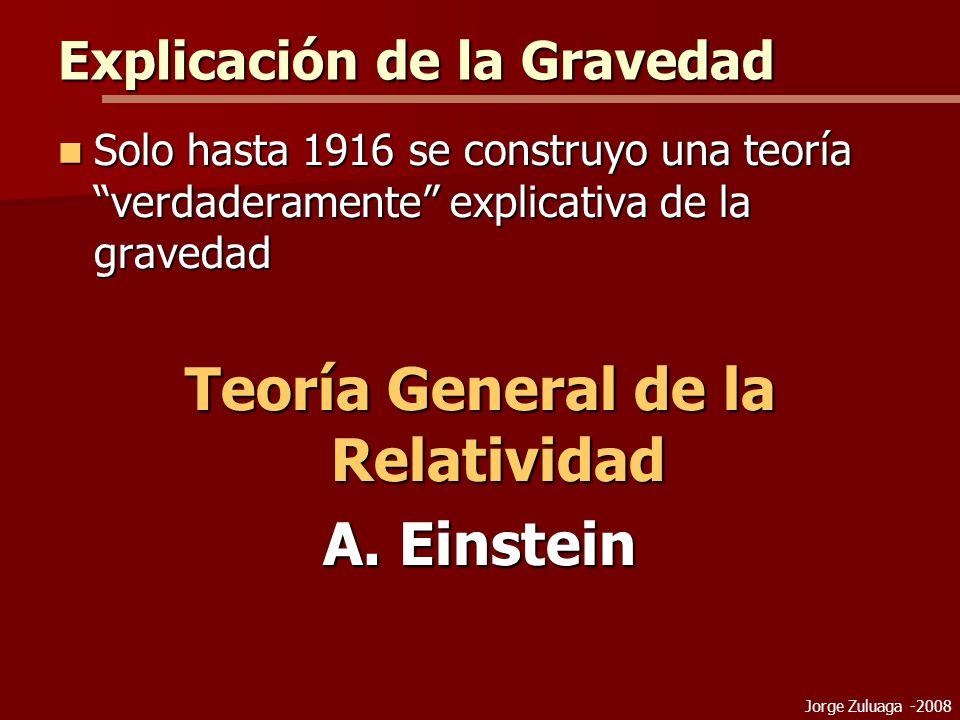Jorge Zuluaga -2008 Explicación de la Gravedad Solo hasta 1916 se construyo una teoría verdaderamente explicativa de la gravedad Solo hasta 1916 se construyo una teoría verdaderamente explicativa de la gravedad Teoría General de la Relatividad A.