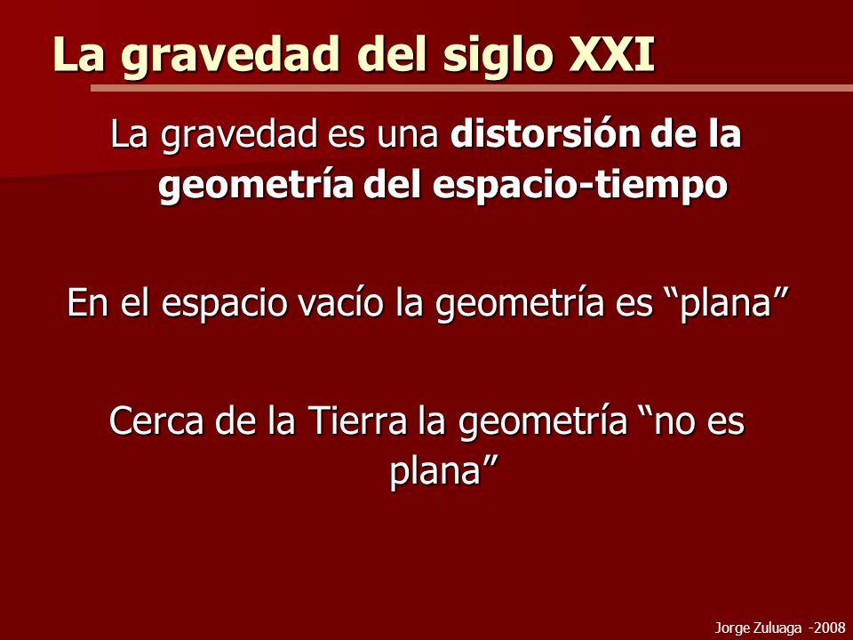 La gravedad del siglo XXI La gravedad es una distorsión de la geometría del espacio-tiempo En el espacio vacío la geometría es plana Cerca de la Tierra la geometría no es plana