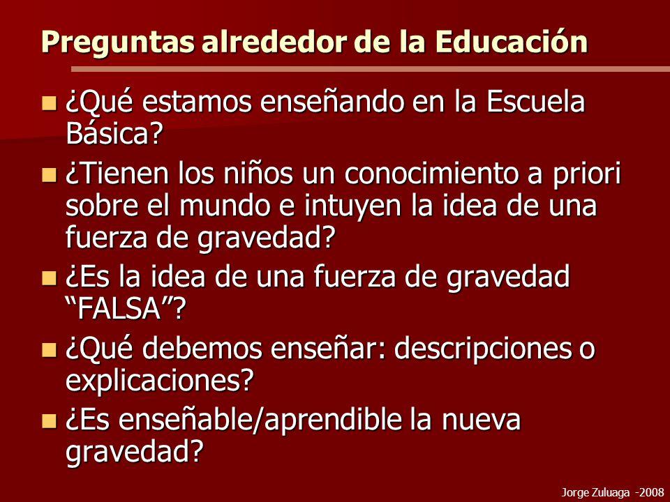 Jorge Zuluaga -2008 Preguntas alrededor de la Educación ¿Qué estamos enseñando en la Escuela Básica.