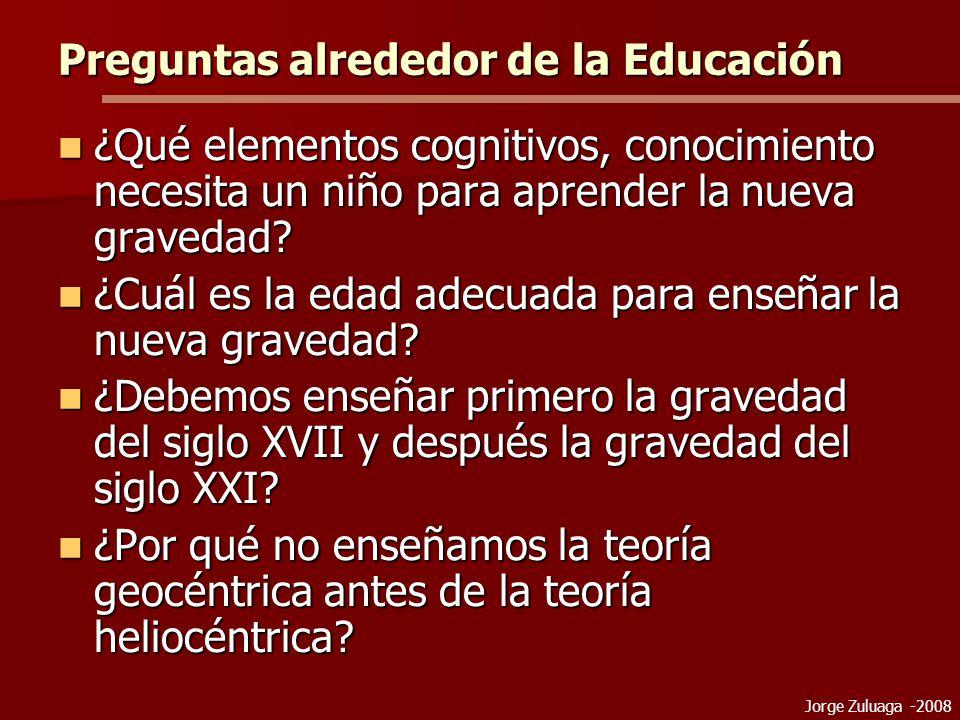 Jorge Zuluaga -2008 Preguntas alrededor de la Educación ¿Qué elementos cognitivos, conocimiento necesita un niño para aprender la nueva gravedad.