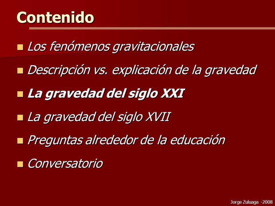 Jorge Zuluaga -2008 Contenido Los fenómenos gravitacionales Los fenómenos gravitacionales Descripción vs.