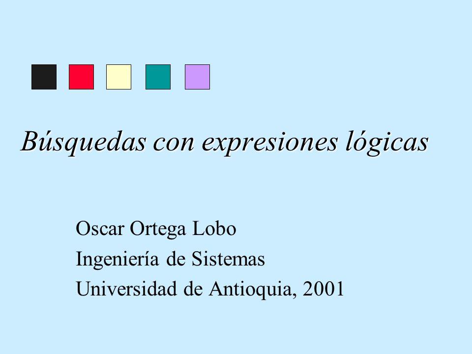Búsquedas con expresiones lógicas Oscar Ortega Lobo Ingeniería de Sistemas Universidad de Antioquia, 2001