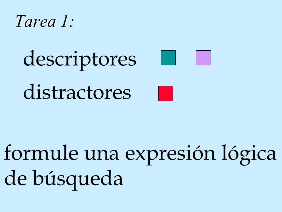 Tarea 1: descriptores distractores formule una expresión lógica de búsqueda