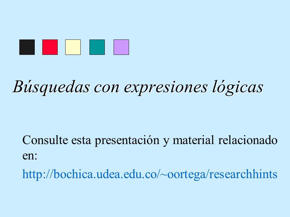 Búsquedas con expresiones lógicas Consulte esta presentación y material relacionado en: http://bochica.udea.edu.co/~oortega/researchhints