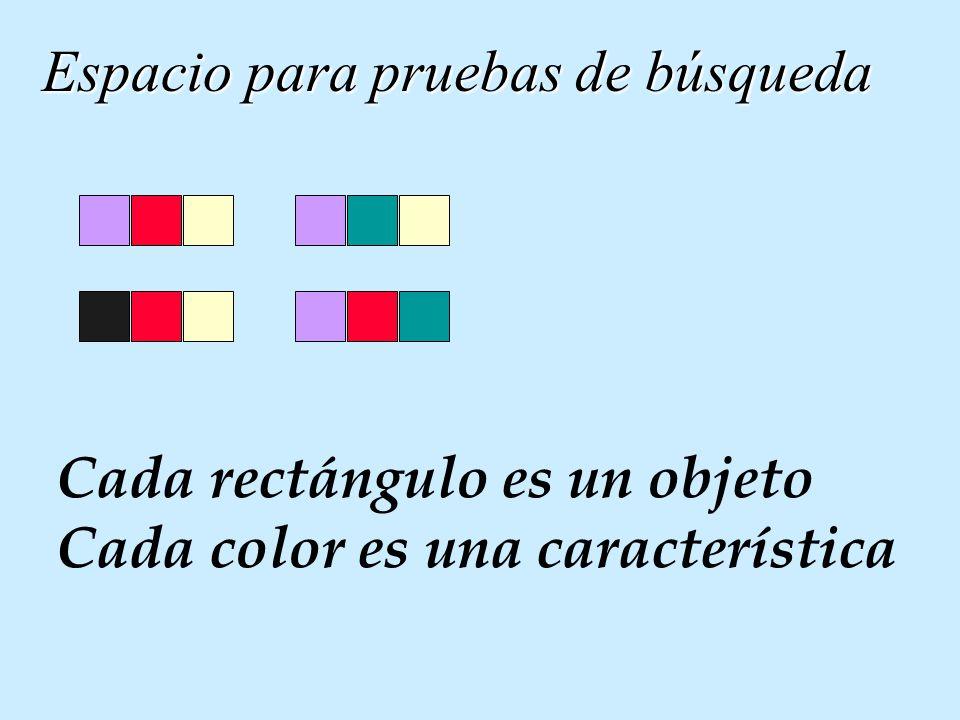 Espacio para pruebas de búsqueda Cada rectángulo es un objeto Cada color es una característica