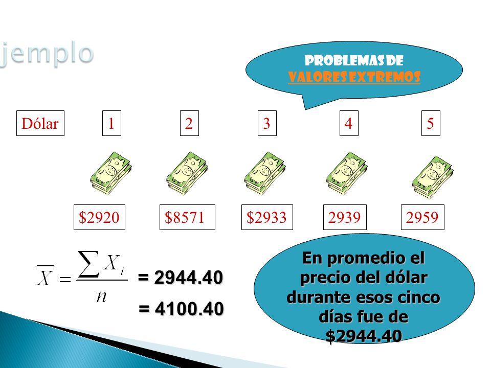 Dólar1 $2920 2 $2971 3 $2933 4 2939 5 2959 = 2944.40 En promedio el precio del dólar durante esos cinco días fue de $2944.40 = 4100.40 Problemas de valores extremos valores extremos $8571