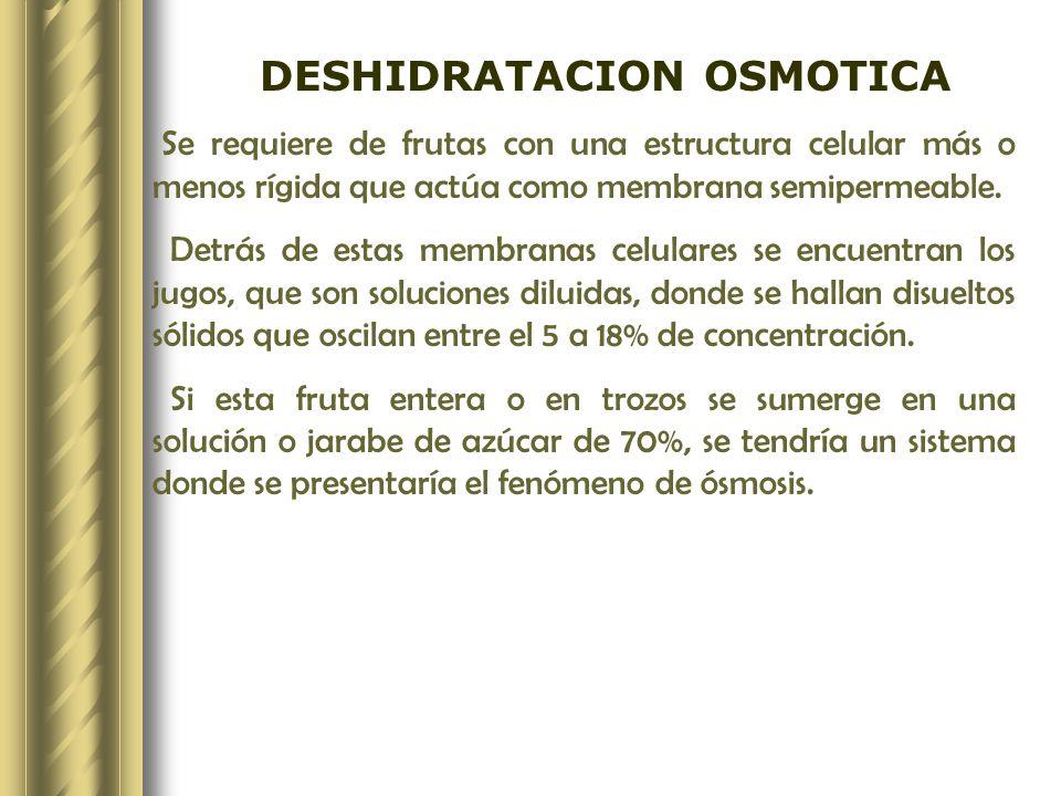 DESHIDRATACION OSMOTICA Se requiere de frutas con una estructura celular más o menos rígida que actúa como membrana semipermeable. Detrás de estas mem